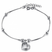 ONEWORLD Women Platinum Plated Anklet Hollow-Out Heart Pendant Foot Leg Chain Length Adjustable Anti-Allergy/Anti-Colour Fading