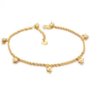 ONEWORLD Women 18K Gold Plated Anklet Heart Shaped Pendant Foot Leg Chain Length Adjustable Anti-Allergy/Anti-Colour Fading