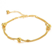 ONEWORLD Women 18K Gold Plated Anklet Bells/Multi-Layer Foot Chain Length Adjustable Anti-Allergy/Anti-Colour Fading