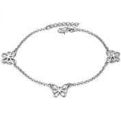 ONEWORLD Women Platinum Plated Anklet Butterflies Pendant Foot Leg Chain Length Adjustable Anti-Allergy/Anti-Colour Fading