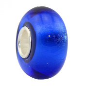 Babao Jewellery Royal Blue Silver Foil Murano Glass Bead with 925 Sterling Silver Single Core fits Pandora Styles European Charm Bracelets