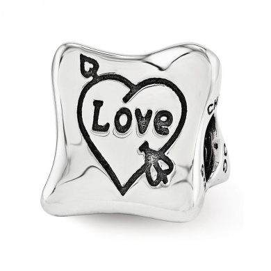 Black Bow Jewellery Company : Love Marriage Family 3-Sided Trilogy Charm in Sterling Silver