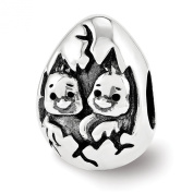 Black Bow Jewellery Company : Happy Easter Hatching Chicks Charm in Antiqued Sterling Silver