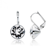 MYJS Bella Rhodium Plated Mini Drop Earrings with Clear. Crystals