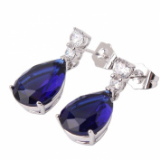 GULICX Fashion Jewellery 18k White Gold Plated Blue Cubic Zirconia Tear Drop Dangle Earrings