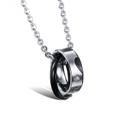 ONEWORLD Titanium Stainless Steel Couple Necklace Ip-Plated Double Ring Set Polished Pendant With 50cm Chain Colour Golden/Black