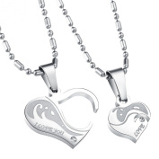 UM Jewellery His and Hers Stainless Steel Zircon Engraved Heart Puzzle Pendant Couple Necklace 55cm