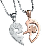 UM Jewellery His and Hers Stainless Steel Crystal Lock Key Puzzle Heart Pendant Couple Necklaces