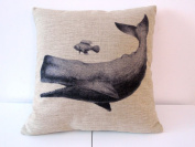 Cotton Linen Square Throw Pillow Case Decorative Cushion Cover Pillowcase for Sofa Whale and Fish Friend 46cm X18 ""