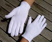 Adult's Stitched 100% Soft White Cotton Gloves Large x10 Pairs