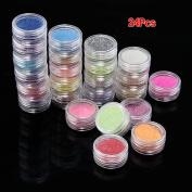 24 Colours Metal Glitter Nail Art Tool Kit Acrylic UV Powder Manicure Decor Tips