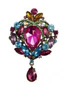 Jays Jewellery - 8.9cm Large Multi-Colour Diamante/Rhinestone Crystal Tear Drop Brooch