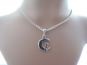 Wiccan/pagan Silver-plated Necklace With a 25mm Cat on the Moon Charm
