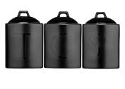Black Ceramic Tea Coffee Sugar Set Kitchen Storage Jars Canisters