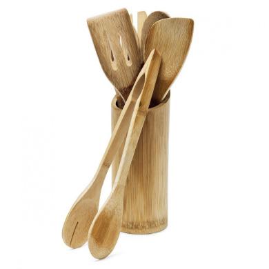 Relaxdays 6-Piece Wooden Spatula/Spoon/Fork/Salad Tong Kitchen Utensils Set