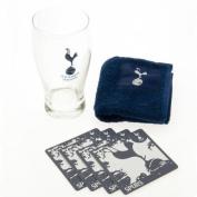 Tottenham Hotspur F.C. Mini Bar Set PT- mini bar set- 1 x pint glass- 4 x beer mats- 1 x beer towel- in a blister pack- Official Football Merchandise