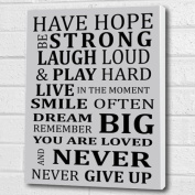 Have Hope Be Strong... Inspirational Quote Silver Grey - Print on Box Canvas A3 30cm x 41cm