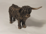 Highland Bull, Standing, Cold Cast Bronze Sculpture by Veronica Ballan. An ideal gift and home decoration for the animal lover (VB051).