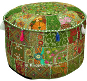 Bohemian Vintage Embroidered Pouffe Ottoman Footstool Cover Indian Round Ottoman Stool Pouffe Pillow, Ethnic Embroidered Pouffe Cover, Indian Cotton Round Pouffe Ottoman Pouffe Cover Pillow Ethnic Decor Art, 36cm x 60cm . By Bhagyoday