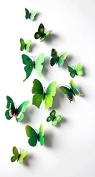 12 Pcs Green Colour Butterfly Stickers Art Decor Wall Stickers Home kid Room Decals