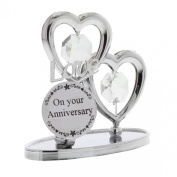Crystocraft Keepsake Gift - Chrome Plated On Your Anniversary Gift Ornament Love Hearts with Swarvoski Crystal Elements