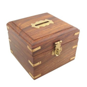 Handmade Square Money Box with Brass Corners Lock Storage Indian Wood Home Gift