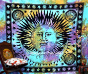 Psychedelic Celestial Indian Sun Moon Star Tapestry, Good Morning Tapestries, Hippie Hippy Wall Hanging, Boho Bohemian Tye Die Hand-loomed Window Doorway Door Curtain, Star Tapestries, Ethnic Home Decor Art, Queen 86x94 By Bhagyoday