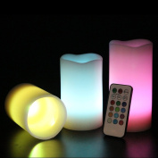 Set of 3 Vanilla Scented Remote Control Colour changing LED Flamelesss Candles with Timer in 3 Different Sizes