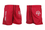 Mens Muscle Works Gym Fitness Shorts Mesh Airtex Training MMA Boxing Shorts Red