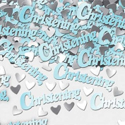 Boy Christening confetti blue with silver hearts