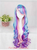 Fashionable Long Curly Party Wig Multi-coloured Halloween Wig