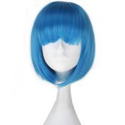 Miss U Hair Girl's Short Straight Synthetic Blue Colour Anime Cosplay Full Wig BOB Hair