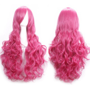 Ellena®Womens/Ladies 80cm Rose Red Colour Long Curly Cosplay/Costume/Anime/Party/Bangs Full Sexy Wig