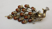 Gorgeous Vintage Jewellery Crystal Rhinestone Peacock Design Fashion Hair Clips Hair Pins Barrette Hair Clips - Large Size - Brown Colour -For Hair Beauty Tools