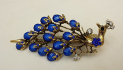 Gorgeous Vintage Jewellery Crystal Rhinestone Peacock Design Fashion Hair Clips Hair Pins Barrette Hair Clips - Large Size - Sapphire Blue Colour -For Hair Beauty Tools