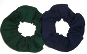Forest Green Navy Blue Fabric Ponytail Holders Set of 2 Ties Handmade by Scrunchies by Sherry