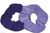 Purple Fabric Ponytail Holders Set of 2 Ties Handmade by Scrunchies by Sherry