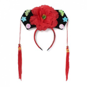 Girls Butterfly Detail Qing Dynasty Chinese Princess Hair Hoop Hat Red