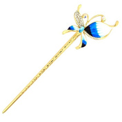 YOY Fashion Long Hair Decor Chinese Traditional Style Women Girls Hair Stick Hairpin Hair Making Accessory with Butterfly,Light Blue
