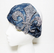 Bling Large Fleur De Lis Denim Look Cotton Wide Headwrap Headband