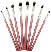 Kolight® 8pcs DIY Eye Brushes Set Eyeliner Eyeshadow Blending Pencil Brush Foundation Cosmetic Makeup-Pink+Silver