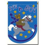New Baby Announcement Garden Applique Flag