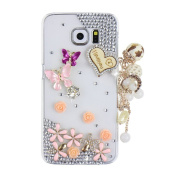 EVTECH(TM) Pink Purple Butterfly Diamante Floral Blossom Five Leaves Flower Love Heart Shape Metal Chain Pearls Diamond Rhinestone Crystal Bling Bling Glitter Fashion Style Transparency Back Cover Cell Phone Case for Samsung Galaxy S6 Edge Plus Samsung ..