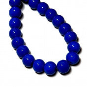 GLASS BEADS DRUK ROUND SMOOTH ELECTRIC BLUE VIBRANT SOLID colour 41cm strand.