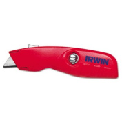 Self-Retracting Safety Knife, 1 Retractable Blade, Red/Silver, Sold as 1 Each