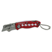 Sheffield Mini Lockback Knife, 1 Utility Blade, Red, Sold as 1 Each