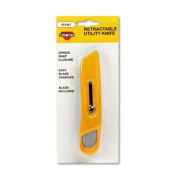 Plastic Utility Knife w/Retractable Blade & Snap Closure, Yellow, Sold as 1 Each