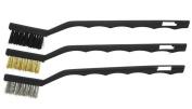 3pc Mini Wire Brush Set Steel Brass Nylon Cleaning Polishing Detail Metal NEW