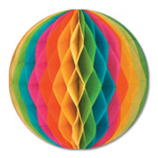 Club Pack of 12 Multi Colour Honeycomb Hanging Tissue Ball Party Decorations 30cm