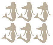 Mermaid Cut Outs Unfinished Wood Mini Mermaids 6.4cm Inch 6 Pieces MER-06